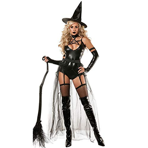 LOVELONG Sexy Siamese Devil Witch Costume Leather Adult Adult Costume Wizard Costume Cosplay (S, -