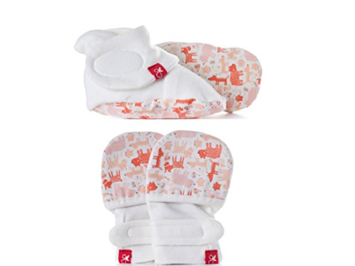 Baby Booties & Mittens Bundle, Adjustable Soft & Secure (Forest Friends/Poppy, 0-3 Months)