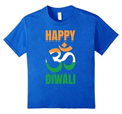 Kids Happy Diwali Om India Flag Hindu Festival Of Lights T-Shirt 8 Royal Blue by Diwali Hindu Vibes Tees