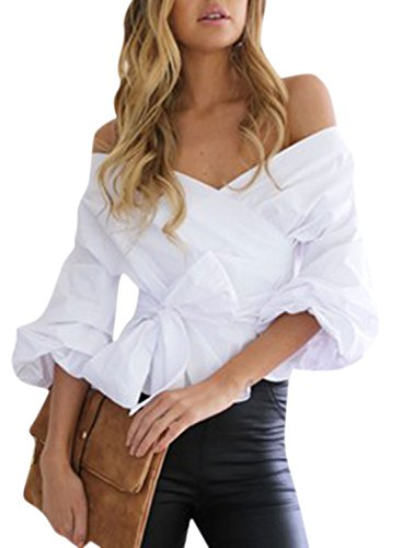 Puff Sleeve Wrap (WLLW Women Lantern Sleeve Wrap V Neck Off Shoulder Front Tie Shirt Blouse)