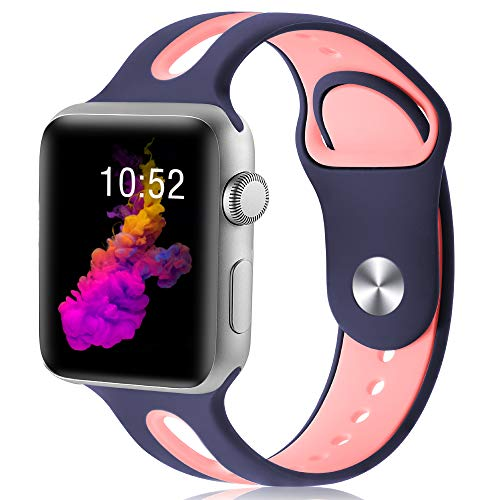 KOLEK Replacement Band Compatible with Apple Watch, 40mm/38mm Silicone Band for iWatch Series 4/32/1 for Women, S/M, Blue/Pink