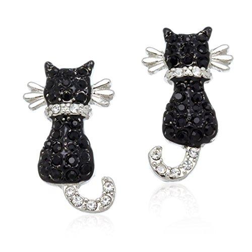 PammyJ Girls Cat Earrings - Silvertone Small Black Crystal Kitty Cat Earrings