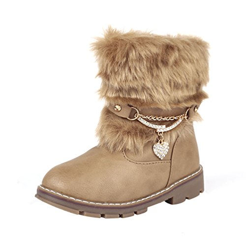 D.Lin Toddler Snow Boots Girls Love Rhinestone Winter Shoes(Toddler/Little Kid)