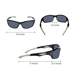 AVIMA BEST Unisex Polarized Tr90 Unbreakable Frame Sports Sunglasses for Running Baseball Cycling Fishing Volleyball Driving Skiing Golf Traveling (Black/Gray With Polarized Gray Lens)