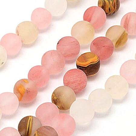 Tigerskin Juego de perlas de cristal de cuarzo, piedra semipreciosa mate, esmeriladas, redondas, de 4 mm, 6 mm, 8 mm, 10 mm, set de piedras preciosas sueltas, diseño de joyas, (6mm, 18 Stück)