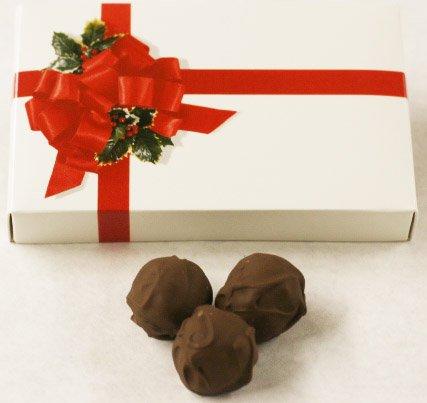 Scott's Cakes Milk Chocolate Covered Orange Marzipan Truffles in a 8 oz. Ribbon-n-Holly Box - Almond Orange Truffles