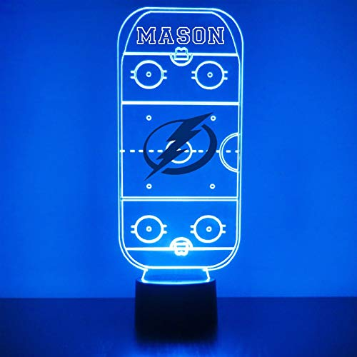 Tampa Bay Handmade Acrylic Personalized Lightning Hockey Rink Hockey Rink LED Night Light - Remote, 16 Color Option, Great Personalized Gift, Engraved