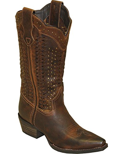 Dark Brown Rawhide Womens - Abilene Women's Rawhide by Scalloped and Weaving Western Boot Snip Toe Brown 7.5 M