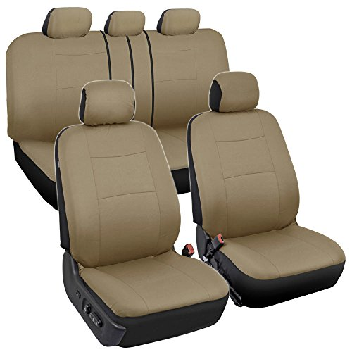 Seat Trim Leather - BDK OS-334-BG Tan Trim Black Car Seat Covers Full 9pc Set - Sleek & Stylish - Split Option Bench 5 Headrests Front & Rear Bench