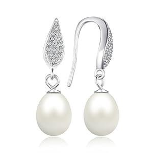 JewelryPalace 8-9mm Perla Coltivata d'acqua Dolce Bianca Dangle Orecchini 925 Sterling Argento