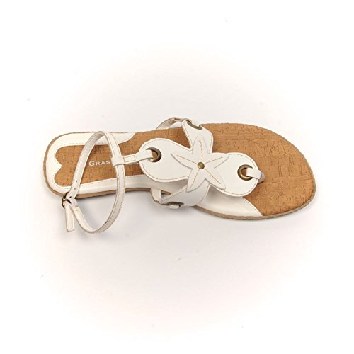 GRASS ROOTS Sandals White Leather Thong W0tVP