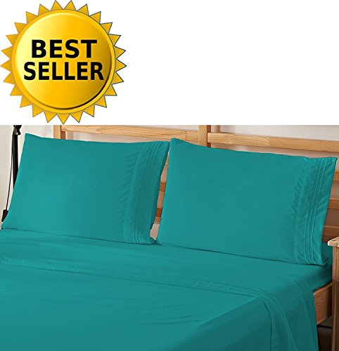 4-Piece Bed Sheet Bedding Set! Luxury Softness Elegant Comfort 1500 Thread Count Egyptian Quality Wrinkle Free with Deep Pockets , Queen, Turquoise