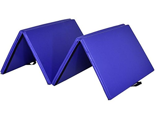 K&A Company Mat Thick Folding Panel Gymnastics Gym Fitness Exercise Yoga Tumbling New Home Blue 4' x 10' x 2""