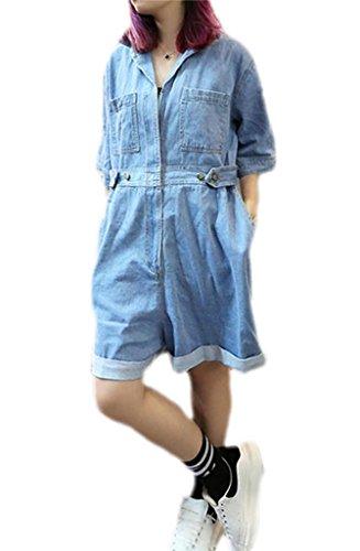 [Women's Plus Size Loose Denim Short Jumpsuit w/ Pockets] (Denim Romper Costume)