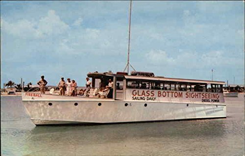 The Fireball, Glass Bottom Sightseeing Boat Key West, Florida Original Vintage Postcard
