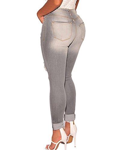Slim Immagine Pantaloni A Distrutti Come Donna Vita Alta Casuale Jeans Strappati 4ywqZU