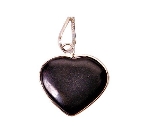 Purpledip Black Agate Heart Pendant For Necklace: Reiki Energized Natural Crystal Good Luck Charm (11336) Black Agate Heart Pendant