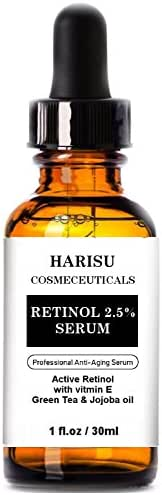 Harisu Cosmeceuticals's Retinol Serum 2.5% for Face, Professional Anti-Aging Topical Facial Serum, Anti-Wrinkle & Reduce Fine Lines- Best anti Wrinkle/Aging Serum for Face and Sensitive Skin