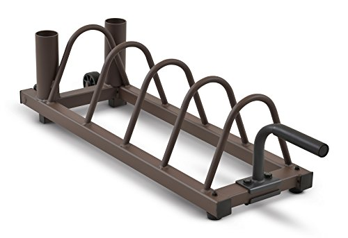 Horizontal Rack (Steelbody Horizontal Plate and Olympic Bar Rack Organizer with Steel Frame and Transport Wheels STB-0130)