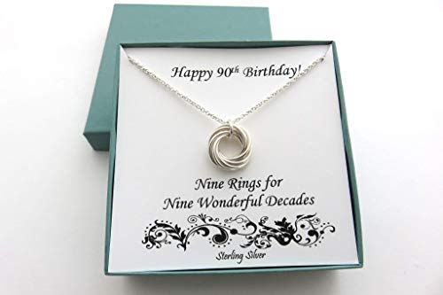 90th Birthday Sterling Silver Necklace without Birthstone