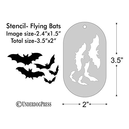 Stencil - Flying Bats, Image Size 2.4x1.5 on 3.5x2 Border -
