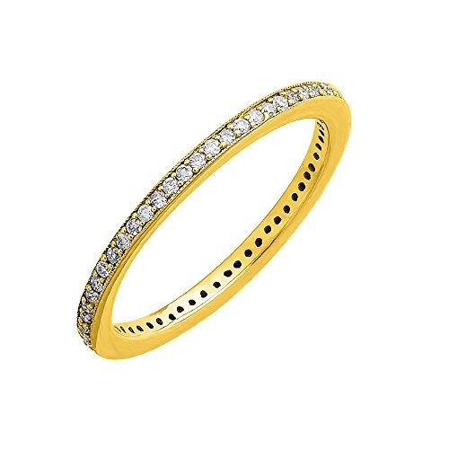 IGI Certified 10k Yellow Gold Diamond Pave Set Eternity Band Ring (0.24 Carat) 0.24 Ct Pave Diamond