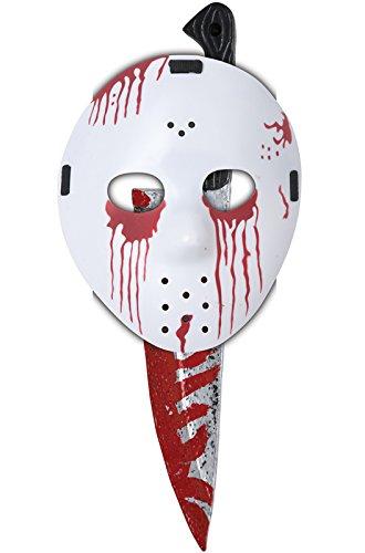 California Costumes Men's Slasher Hockey Mask and Knife Jason Horror Gore, White/Red, One Size