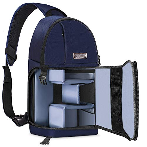 MOSISO Camera Bag, Water Repellent Shockproof Sling Backpack with Adjustable Crossbody Strap and Removable Modular Inserts for DSLR/SLR/Mirrorless Cameras (Compatible Canon,Nikon,Sony etc.), Navy Blue