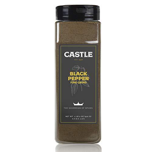 Castle Foods | BLACK PEPPER FINE GRIND, 18 oz Premium Restaurant Quality