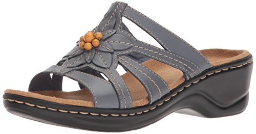 CLARKS Women's Lexi Myrtle Sandal, Blue/Grey Leather, 5.5 Medium US ()