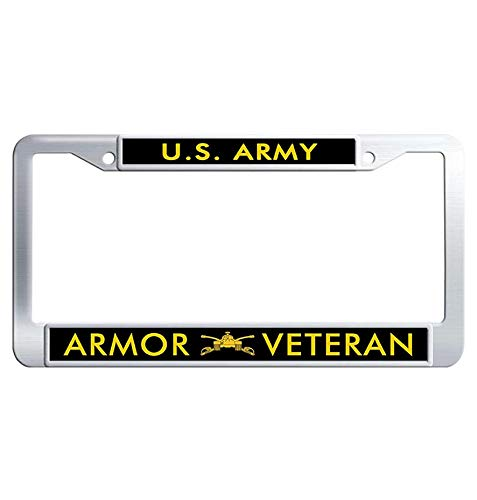 Hensteelna US Army Armor Veteran Stainless Steel License Plate Frame U.S. Army Car License Plate Holder (1 pic, 6