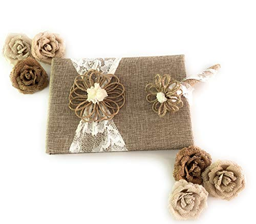 Fun Fashion Frills Burlap and Lace Guest Book, Coordinating Floral and Jute Covered Lace Pen and Flower Embellishment Set - Wedding - Anniversary - Engagement - Bridal ()
