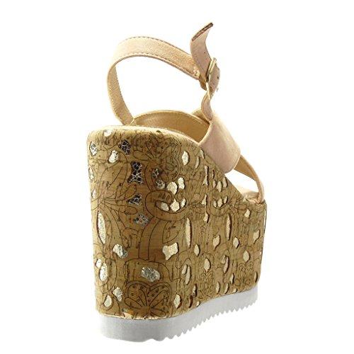 Angkorly - Zapatillas de Moda Sandalias Mules zapatillas de plataforma mujer corcho fantasía dorado Talón Plataforma 12.5 CM - Rosa