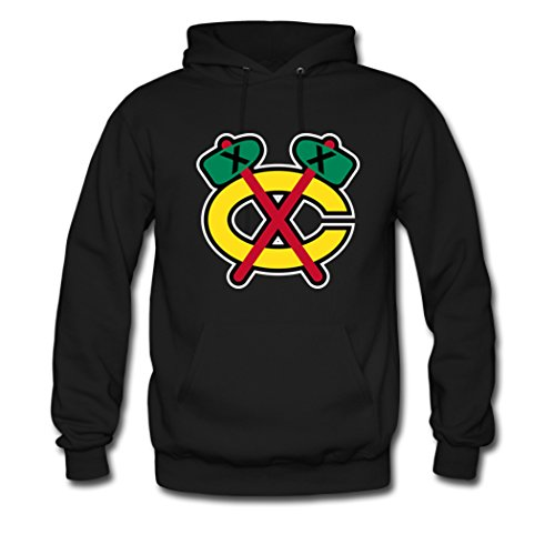 Custom Men Chicago Blackhawks Team Logo Top Hoodies Pullover Sweatshirt Small Black