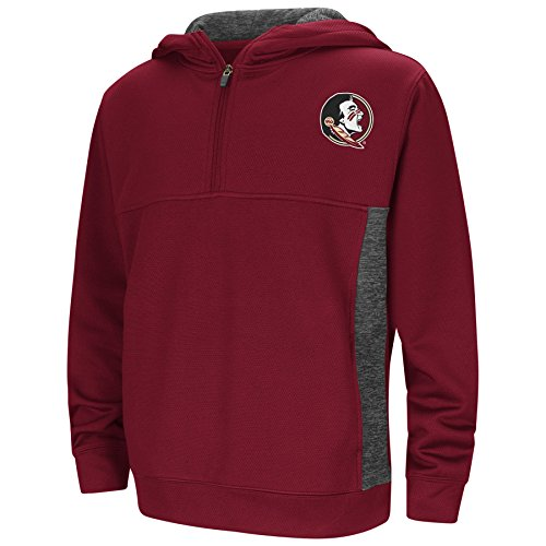 (Colosseum Youth NCAA-Goon Docks 1/4 Zip Pullover Hoodie Sweatshirt-Florida State Seminoles-Garnet-Youth Medium)