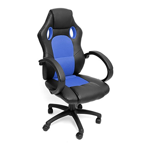 410WV8xZFHL - NewRetailGlobal-Gaming-Chair-Office-Chair-Racing-Car-Gaming-Leather-Chair-Adjustable-Ergonomic-Blue