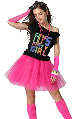 Xianhan 1980s Outfit 80's Party Girl Retro Costume Accessories Outfit Dress for 1980s Theme Party Supplies (S/M, Hot Pink) -