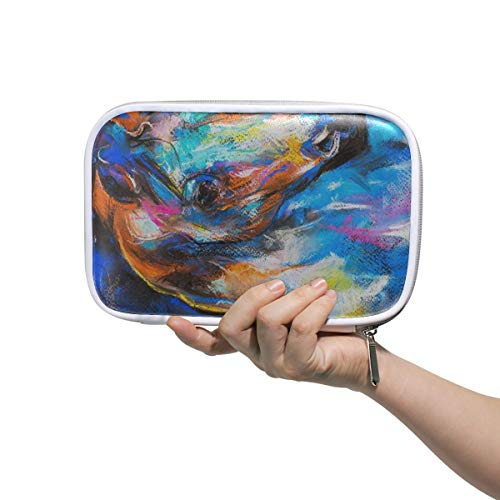 Animal Horse Oil Painting Makeup Brush Set Bag Multifunction Leather Large Pencil Case Storage Zip Pouch