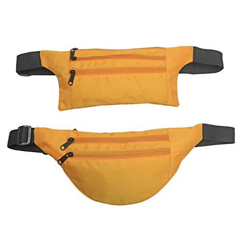 Set Of 2 Mustard Polyester Fanny Packs Zipper Pockets Hiking Running Travel
