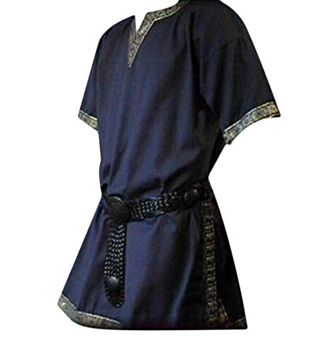 neveraway Men Plus Size V Neck Short Sleeve Top Costume Medieval Simple T-Shirts Dark Blue 3XL
