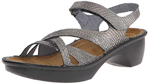 Naot Women's Paris Wedge Sandal - Gray Lizard Leather - 3...