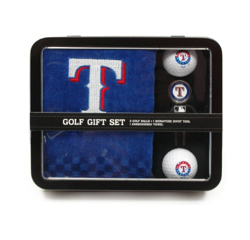 MLB Texas Rangers Embroidered Golf Towel, 2 Golf Balls, And Divot Tool Set