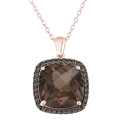 14mm 9ct Smoky Quartz Pendant in Rose Gold Plated Sterling Silver with Smoky Quartz Halo