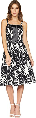 Taylor Dresses Women's Printed Lace Up Bodice Sleeveless Dress, Black/Ivory, Size 6