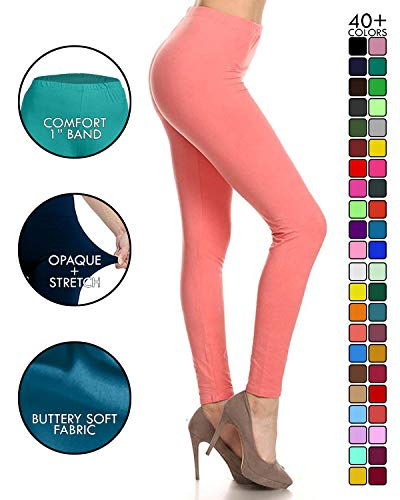 LDR128-Coral Basic Solid Leggings, One ()