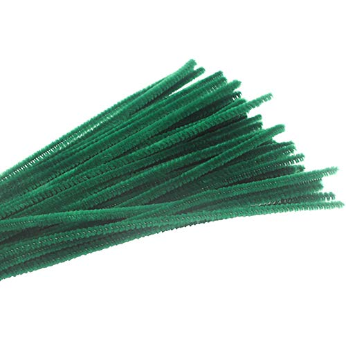 Pipe Cleaners Chenille Stems 6 mm x 12 Inch for DIY Art Craft 100 Pieces for Christmas Gift Green