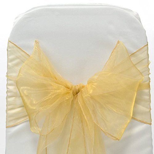 ATCG 25pcs Organza Chair Bow Sash Ties Chair Cover Sashes Ribbon slipcovers for Wedding Party Banquet Events Décor (GOLD) (Gold Chair Ties)