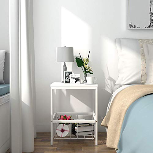 Lifewit Small Nightstand Bedside Table with Storage Basket, Side Table End Table for Bedroom, Sturdy and Easy Assembly, Cute White, 15.7 × 15.7 × 20 inches ()