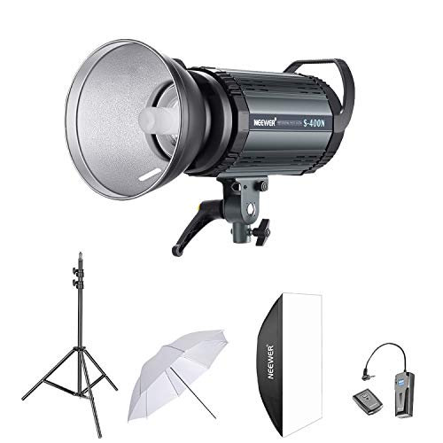 Neewer 400W Studio Strobe Flash Photography Lighting Kit:(1)S-400N Monolight,(1)Reflector Diffuser,(1)Softbox,(1)33 Inches Umbrella,(1)RT-16 Wireless Trigger,(1)Light Stand for Shooting Bowens Mount
