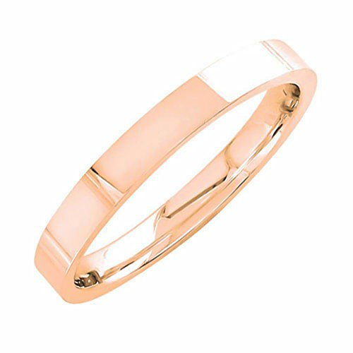 18K Rose Gold Traditional Top Flat Men's Comfort Fit Wedding Band (3mm) Size-12.5c1